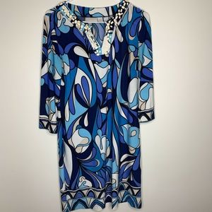 Chicos Womens Size 0 Blue and White 3/4 Sleeve